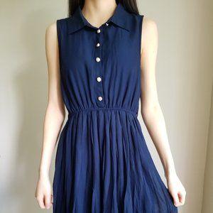 Navy Button Down Summer Dress